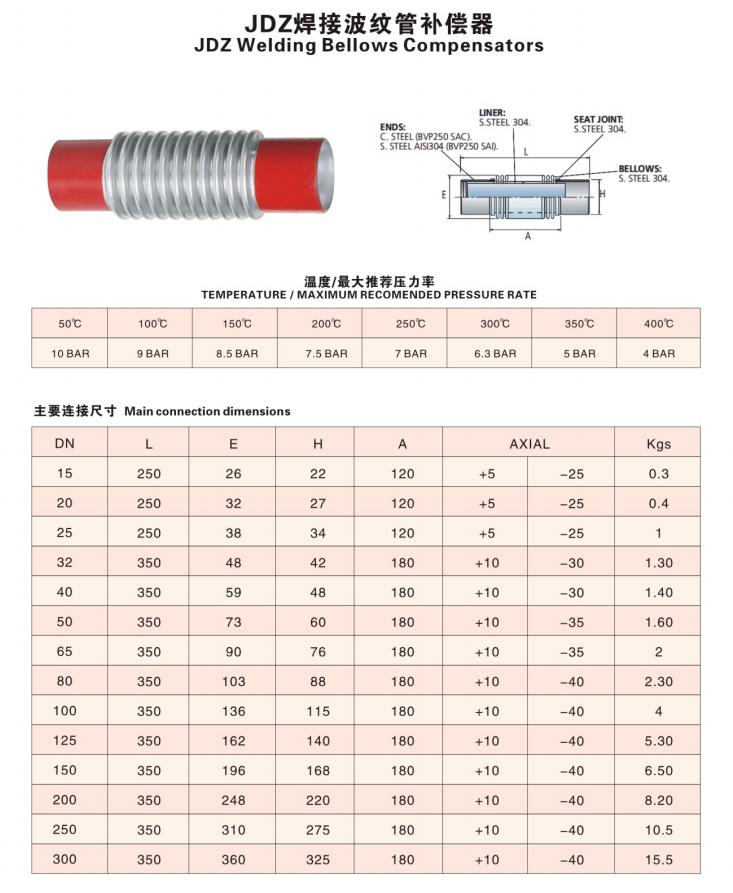 JDZ焊接波紋管補償器技術參數