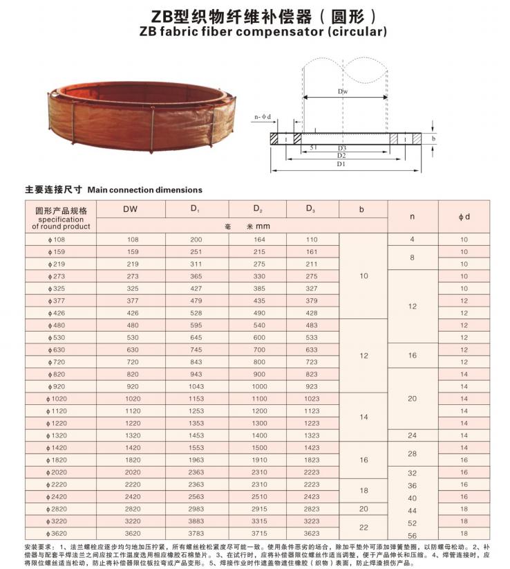 ZB型織物纖維補償器(圓形)技術參數